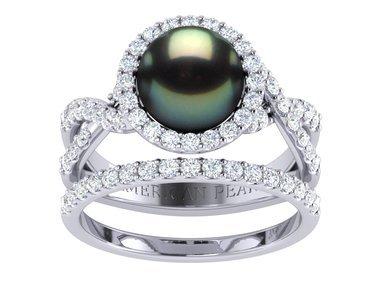 tahitian pearl flow engagement ring wedding band set - Pearl Wedding Rings