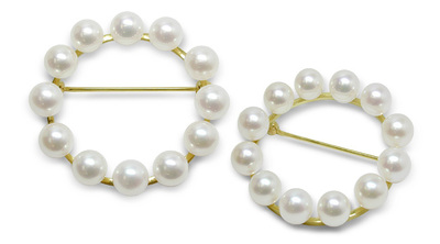 Pearl Circle a Cultured Pearl Brooch