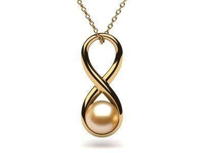 Golden Pearl Infinity Pendant