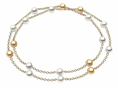 Golden & White South Sea Pearl 32 Inch Tin Cup Necklace
