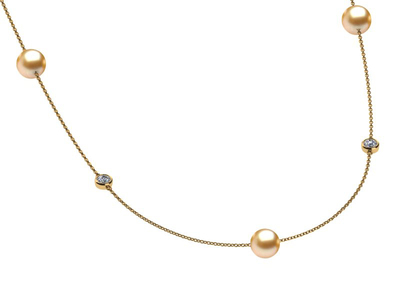 Golden & Diamond South Sea Pearl 32 Inch Tin Cup Necklace