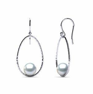 South Sea Pearl Earring Drop Hoop Hammered