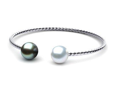 South Sea Pearl Twisted Bangle Bracelet