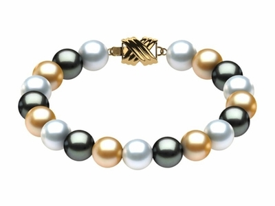 Tahitian Pearl South Sea & Golden Multicolor Bracelet