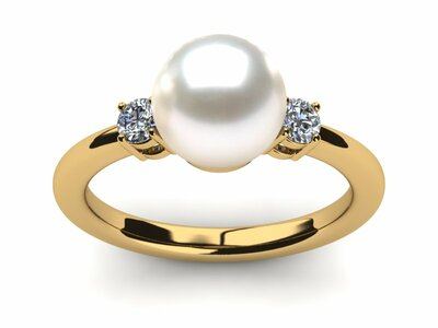 Yellow Gold Cultured Pearl Rings