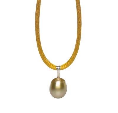 Pearl Silk Cord Necklace with Golden South Sea Pearl