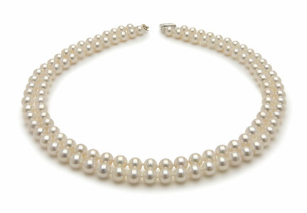 6.5 x 7.0mm Double Strand White Freshwater Pearl Necklace