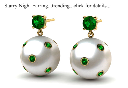 South Sea Pearl Starry Night Emerald Earring | Trending