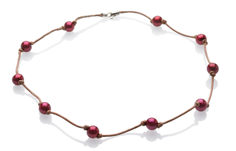 Cranberry and Leather Necklace