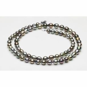 """32"""" 8 x 10mm Tahitian Pearl Necklace Multicolor Baroque   Serial Number s8-clabc2-multi-color-b73"""