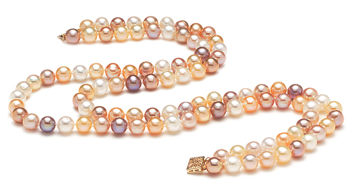 AAA  8 x 9mm Multicolor Round Pearl Necklace
