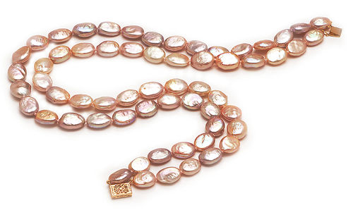 12mm Pink Oval Pearl Necklace