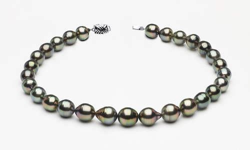 11 x 13mm Tahitian Pearl Peacock Baroque Necklace | Serial Number s8-clabc-peacock-color-b66