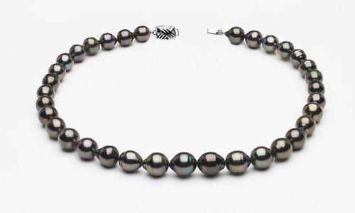 9 x 11mm Tahitian Pearl Dark Black Baroque Necklace   Serial Number s8-clabc-dark-color-b61