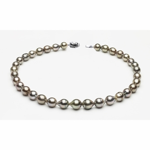 9 x 11mm Tahitian Pearl Grey Baroque Necklace   Serial Number s8-clabc-grey-color-b60