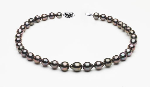 8 x 10mm Tahitian Pearl Peacock Baroque Necklace   Serial Number s8-clabc-peacock-color-b57