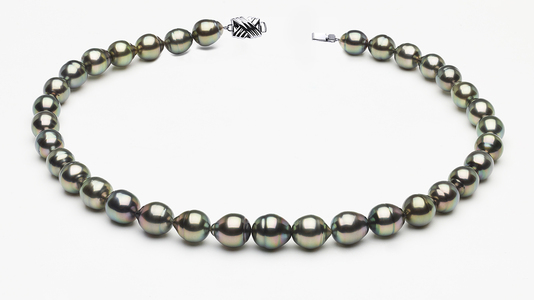 9 x 11mm Tahitian Pearl Peacock Baroque Necklace   Serial Numbers8-clabc-peacock-color-b59