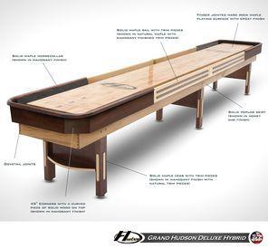 16' Grand Hudson Deluxe Hybrid Shuffleboard Table
