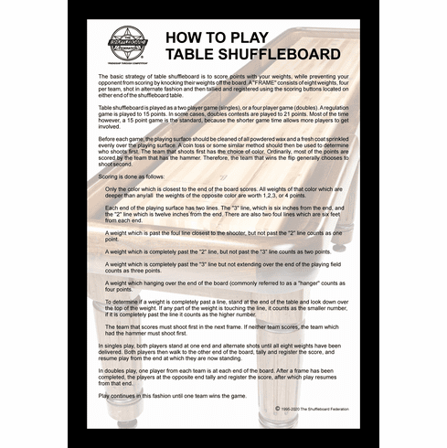 """How To Play Table Shuffleboard 12"""" x 18"""" Framed Print"""