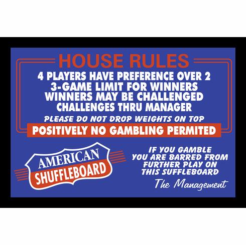 """American Shuffleboard House Rules 12"""" x 18"""" Framed Print"""