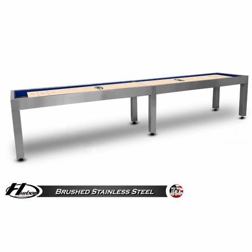 16' Brushed Stainless Steel Hudson Metro Shuffleboard Table
