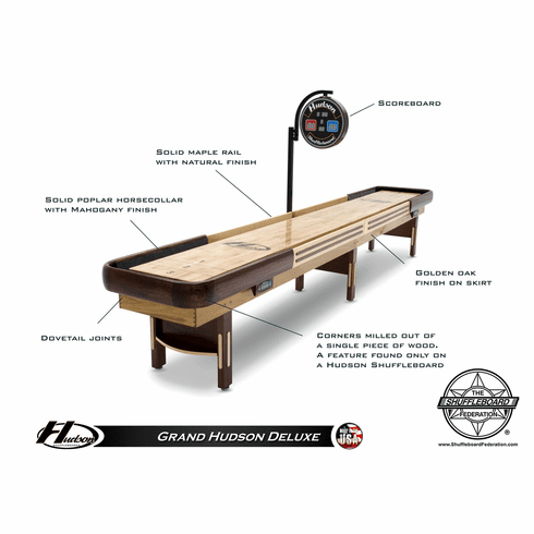 16' Grand Hudson Deluxe Shuffleboard Table