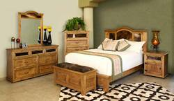 San Felipe Rustic Bedroom Furniture 6 Piece Set w/ Cowhide