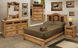 San Felipe Rustic Bedroom Furniture Set w  Cowhide Pine and Wood