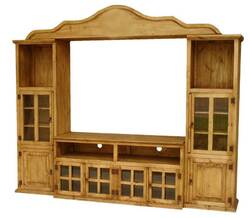 Puebla Rustic Pine Wood Wall Unit