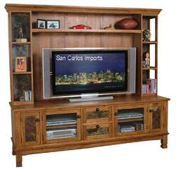 Arizona Rustic Oak Entertainment Center Wall Unit