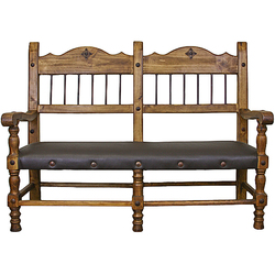 Hacienda Leather Seat Rustic Bench
