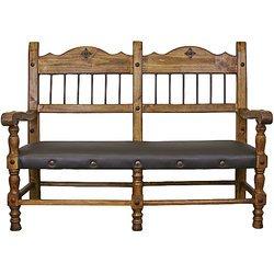 Hacienda Leather Seat Rustic Bench