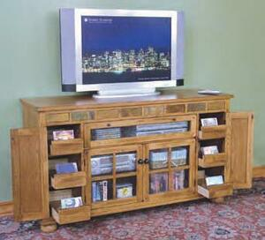 Arizona Rustic Oak and Slate Tall TV Stand
