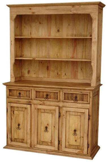 Rustico Pine Wood Large China Cabinet