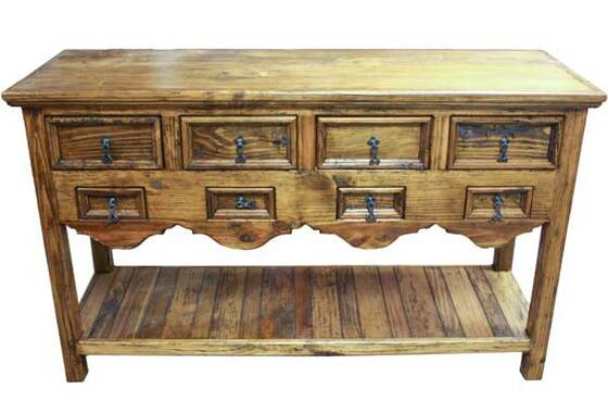 Awesome Old World Rustic Console Table W/ 8 Drawers